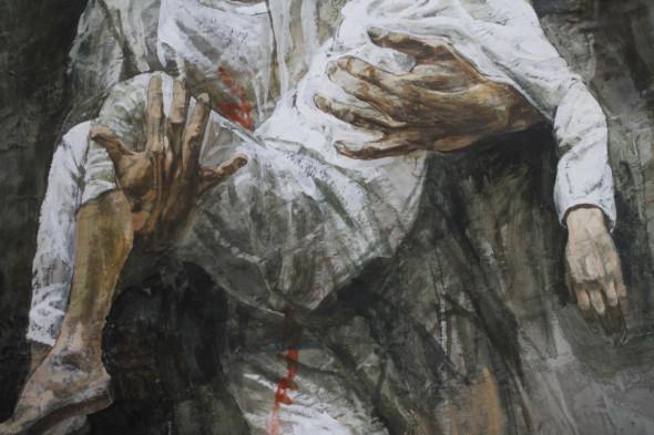 particolare dell'opera di Safet Zec in mostra alla Chiesa della Pietá a Venezia